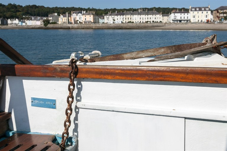 Beaumaris viewed from the bow of the Cerismar Two