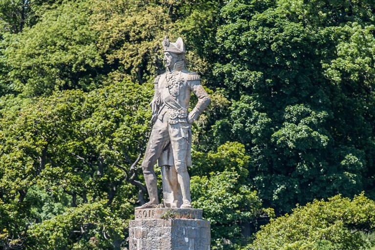 Statue of Nelson on the bank of the Menai Straits