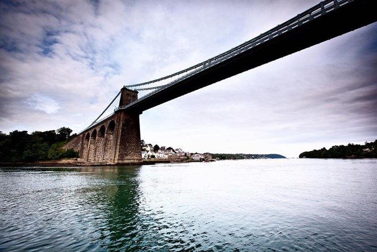 A stunning view of Thomas Telford's Menai Bridge